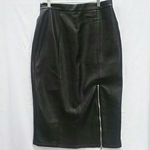 Vintage Goth 80's90's Black Pleather Skirt Size 16